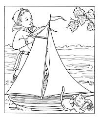 Boy With Large Model Sale Boat Coloring Pages