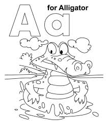 Nobby Design The Letter A Coloring Pages Printable Alligator With Page JPG