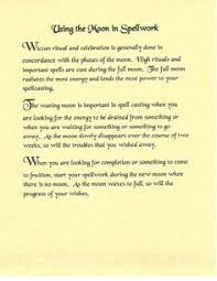 Book Of Shadows Spell Pages Using The Moon In Work Wicca
