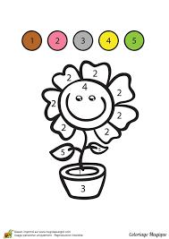 dessin à colorier d un coloriage magique maternelle une fleur en pot