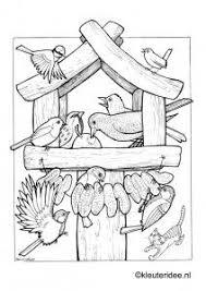 Kleurplaat Vogels Voeren Voederhuisje Kleuterideenl Feeding Birds Preschool Coloring