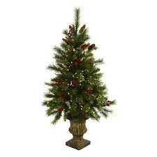 Slim Pre Lit Christmas Trees by Shop Nearly Natural 4 Ft 208 Count Pre Lit Winterberry Slim