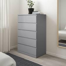 malm kommode mit 6 schubladen grau lasiert 80x123 cm