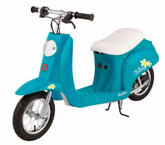 Electric Scooter For Kids Girls Teens With Seat Charger Battery Razor Turquoise