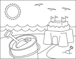 Beach Scene Coloring Pages Kids Tflfna