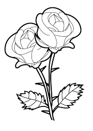 Heart And Roses Coloring Pages Rose Color Page Plus Drawing