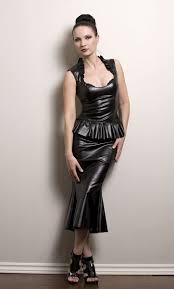hobble skirt in faux leather or pvc made to order