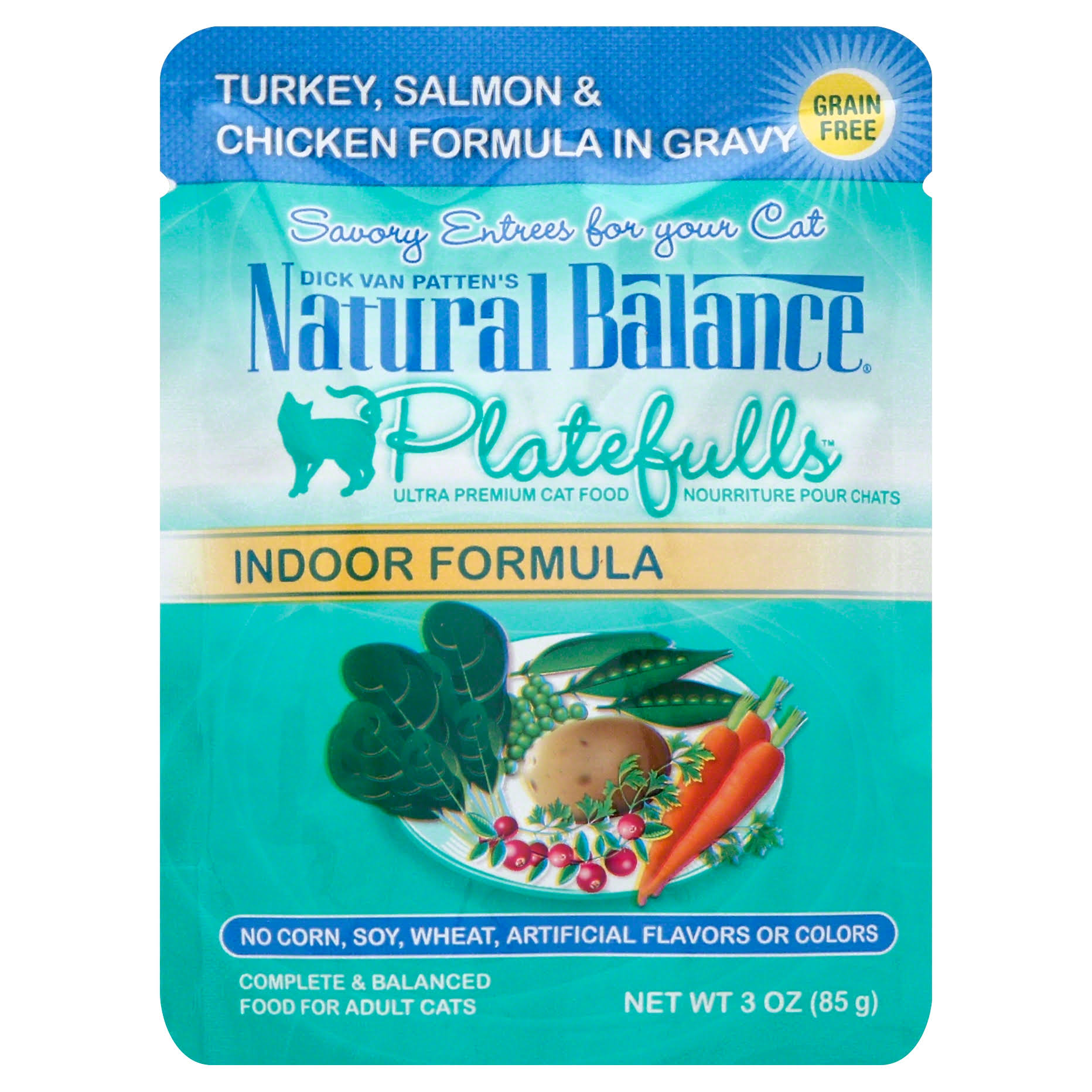 Natural Balance Platefulls Turkey and Salmon Indoor Adult Cat Food - 3oz