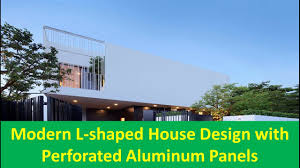 100 L Shaped Modern House Shaped Design With Perforated Aluminum Panels