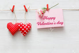 Happy Valentine Background With Red Pillow Sewed Hearts Row Border On Clothespins And Greeting Card