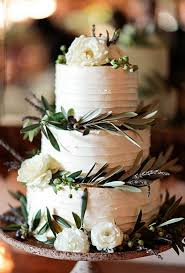 Greenery Rustic White Wedding Cake For Fall 2015