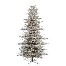 45ft Flocked Slim Sierra Artificial Christmas Tree With Clear Lights