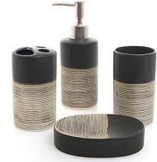 mygift deluxe bad set mit seifenspender zahnbürstenhalter becher und seifenschale 4 teilig modern schwarz