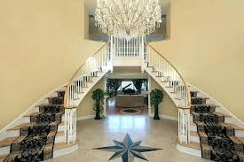 Foyer Flooring Ideas With Double Stairs And Star Floor Design Entryway Pictures