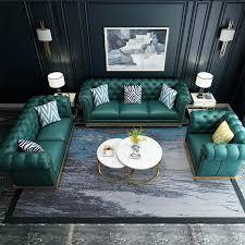 angepasst morden wohnzimmer möbel luxus klassische grün chesterfield 6 3 sitzer echtem leder sofas set drei buy foshan möbel italien leder sofa
