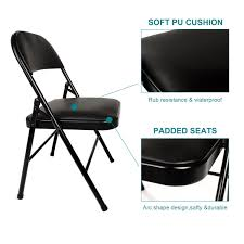 4-Pack Metal Steel Folding Chair With PU Padded Seats Black ...