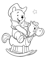 Winnie The Pooh Riding A Horse Coloring Pages For Kids Printable