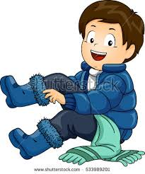 Illustration Of A Little Boy Putting On Set Winter Clothing One By