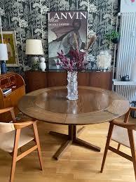 runder esstisch dyrlund dänemark modell flip flap lotus patinamöbel vintage living