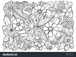 Floral Pattern For Coloring Book Doodle Flowers In Black And