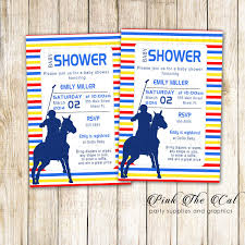 30 Printed Cards Polo Invitation Yellow Red Blue Baby Shower Pink