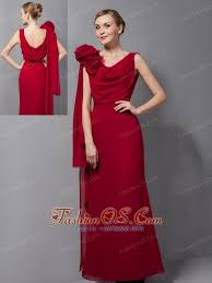 Custom Made 70s Wine Red Mother Of The Bride Dress V Neck Chiffon