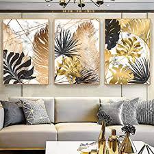 wadpj nordic golden leaves leinwand gemälde schwarz gold luxyry leaf wandkunst poster bilder leinwand für wohnzimmer wohnkultur 50x70cmx3 stücke kein