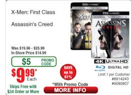 X-men First Class & Assassins Creed 4k Blu Ray 9.99each W/promo Code ... Motorola Rve Me 3999 With Promo Code Frys Electronics Frysfoodcom Food Pharmacy Reviews Coupons Rx Drug Stores Coupon Matchups Mylitter One Deal At A Time 20 Off Instore Purchase Tuesday 219 Instoreusa Off Minimum Purchase Of 299 And Above Food Coupons Babies R Us Ami Email Exclusive Moto X4 Unlocked 299 Tax In Black Friday Ads Sales Doorbusters Deals 2018 San Diego Frys Best Sale Xmen First Class Aassins Creed 4k Blu Ray 999each Wpromo Code 30 The Edinburgh Jewellery Boutique Promo Discount While Supplies Last 65 4k Tv For 429 At Clark