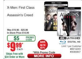 X-men First Class & Assassins Creed 4k Blu Ray 9.99each W ...