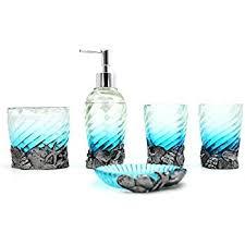 Beach Glass Bath Accessories by Amazon Com Beach Seashell Starfish Bathroom Accessories Set
