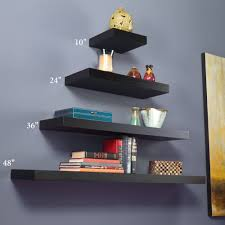 Manhattan Black Wooden Floating Wall Shelves