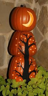Drilled Jack O Lantern Patterns by Cute Idea For Stacked Pumpkin Topiary Paint Black Tree On Bottom
