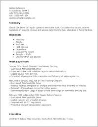 Resume Class B Cdl Driver