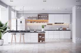 Modern White Kitchen Interior 3d Rendering Stockfoto Und A Cozy Modern Kitchen White Room Interior 3drender Stockfoto Und Mehr Bilder Architektur