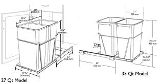 Under Cabinet Trash Can Pull Out by Rev A Shelf Double Pull Out Waste Containers 2 X 27 Quart 2 X