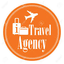 Orange Circle Vintage Style Travel Agency Icon Label Button Or Sticker Isolated On White