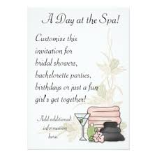 Spa Day Birthday Cards Invitations