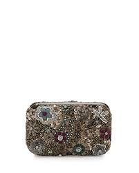 alice olivia metallic paisley hard shell clutch bag in gray lyst