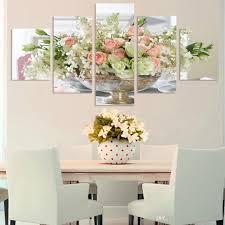 großhandel freies verschiffen moderne dekorative rosa hellgrüne weiße blumen knochen wandbilder für wohnzimmer wand auf leinwand malerei 5 panels