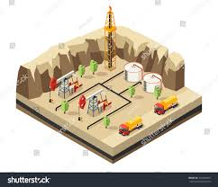 Isometric Oil Industry Template Drilling Rigs Stock Vector (Royalty ...
