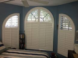 Graber Arched Curtain Rods by Curved Windows Can Be Covered With Custom Shutters To Fill The
