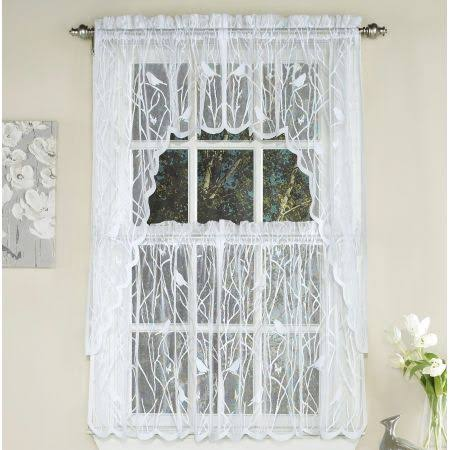 Lorraine Songbird Lace Kitchen Curtain Tier - White, 90cm