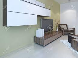 idee der fusion wohnzimmer wandpanelsystem leichter laminalboden und zwei farbige wände hellbraun und weiß 3d übertragen