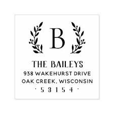 Rustic Branch Family Monogram Address Stamp