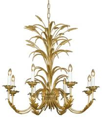 Metal Wheat And Leaf Design Eight Light Chandelier Traditional