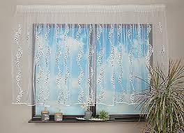 moderne kurze gardine blumenfenster wellen stickereien weiss