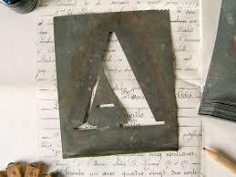 Vintage French Alphabet Stencils Large Zinc Letters Metal