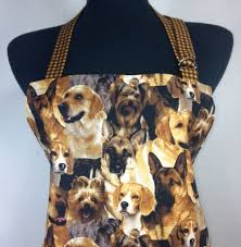 Dog Apron For Women Retro Kitchen Decor With Brown Check Ruffle Adjustable Pocket