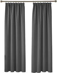 deconovo vorhänge blickdicht kräuselband gardinen schlafzimmer vorhang verdunkelung 245x140 cm dunkelgrau 2er set