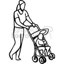 Royalty Free A black and white mother taking her baby for a walk in the stroller vector clip art image EPS illustration